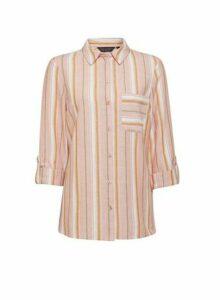 Womens Pink Stripe Print Linen Shirt, Pink