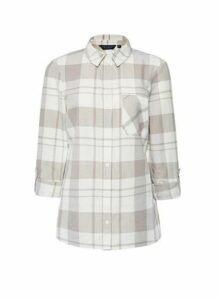 Womens Beige Check Linen Shirt - Grey, Grey