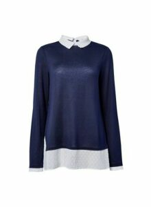 Womens **Tall Navy Dobby 2-In-1 Top- Blue, Blue