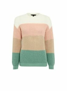 Womens Multi Colour Stripe Print Block Jumper - Cream, Cream