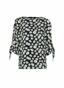 Womens Billie & Blossom Black Floral Print Tie Sleeve Top, Black