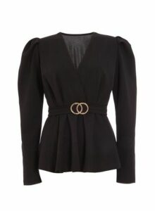 Womens *Quiz Black Puff Sleeve Peplum Top, Black