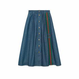 Denim skirt with Web and Interlocking G