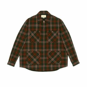 Check wool zip-up shirt