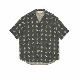 Gucci anchor print oversize bowling shirt