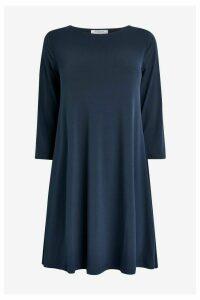 Womens Great Plains Adria Jersey Wide Neck Dress -  Blue