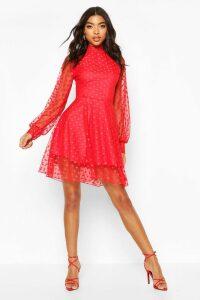 Womens Tall Dobby Mesh Skater Dress - Red - 14, Red