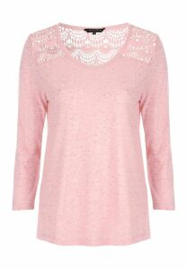 Womens Pink Marl Lace Shoulder Top
