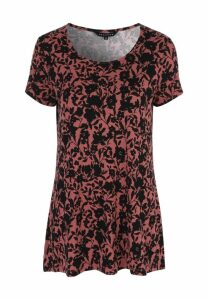 Womens Pink Floral Print Tunic Top