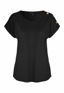 Womens Black Ribbed Button Shoulder Top