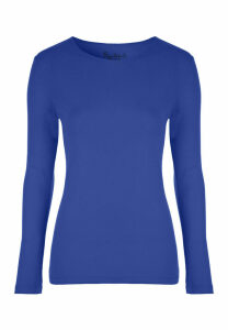 Womens Blue Long Sleeve Top