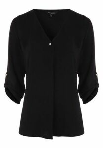 Womens Black Pleat and Button Blouse