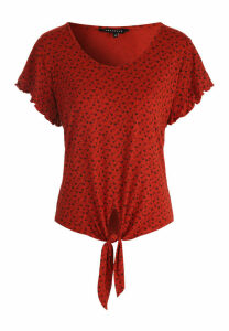 Womens Rust Ditsy Frill Sleeve Top
