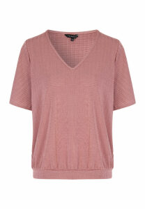 Womens Pink Texture Angel Sleeve Top