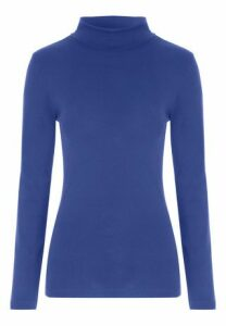 Womens Blue Roll Neck Top