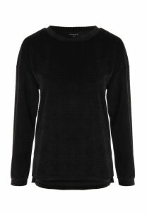 Womens Black Velour Stripe Jumper