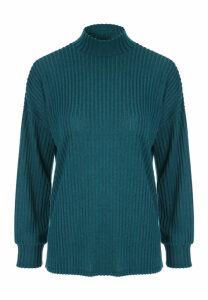Womens Teal Marl Ribbed Turtle Neck Top
