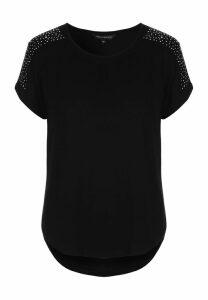 Womens Black Diamante Shoulder T-Shirt