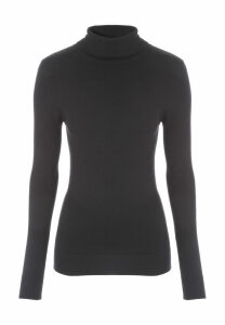 Womens Black Roll Neck Jumper