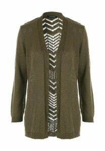 Womens Khaki Open Stitch Cardigan