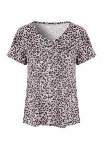 Womens Grey Leopard Soft Touch Pyjama Top