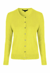 Womens Lime Yellow Crew Neck Cardigan