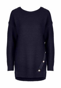 Womens Navy Ribbed Button Detail Jumper