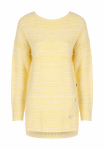 Womens Lemon Ribbed Button Detail Jumper