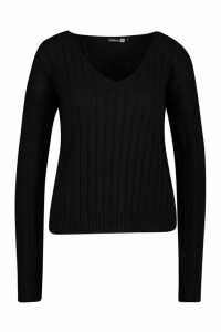 Womens Tall Wide Rib V-Neck Crop Jumper - black - M, Black
