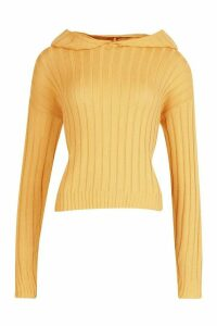 Womens Tall Wide Rib Knit Hoody - beige - XL, Beige