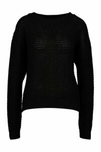Womens Tall Crew Neck Crop Jumper - black - XL, Black