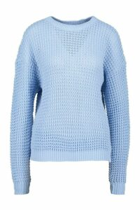 Womens Tall Crew Neck Crop Jumper - Blue - S, Blue