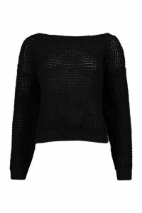 Womens Tall Slash Neck Crop Jumper - Black - M, Black