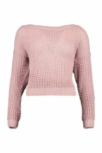Womens Tall Slash Neck Crop Jumper - Pink - XL, Pink