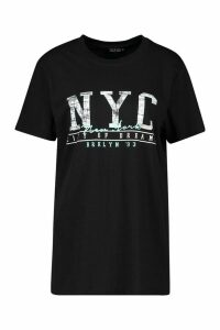 Womens Tall Nyc Slogan T-Shirt - Black - M, Black