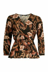 Womens Tall Floral Print Peplum Blouse - Black - 12, Black