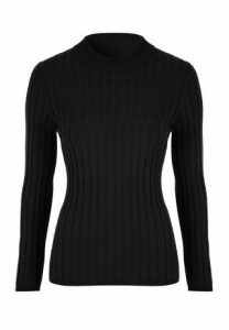 Womens Black Ribbed Turtle Neck Jumper
