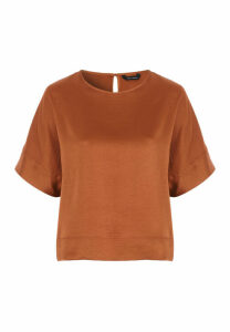 Womens Ginger Boxy Faux Satin Top
