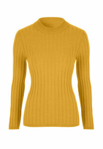 Womens Mustard Ribbed Turtle Neck Jumper