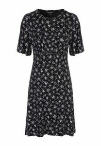 Womens Black Ditsy Floral Angel Sleeve Dress