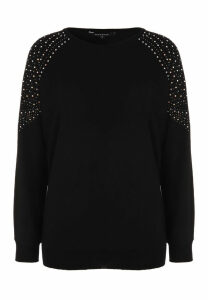 Womens Black Batwing Stud Detail Jumper
