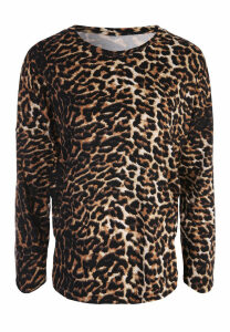 Womens Brown Leopard Soft Touch Pyjama Top