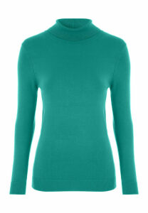 Womens Teal Green Roll Neck Jumper