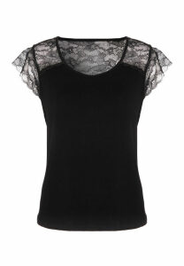 Womens Black Lace Sleeve Pyjama Top