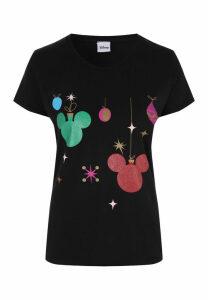 Womens Black Disney Christmas T-Shirt