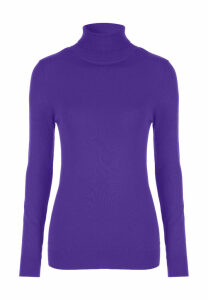 Womens Purple Roll Neck Jumper