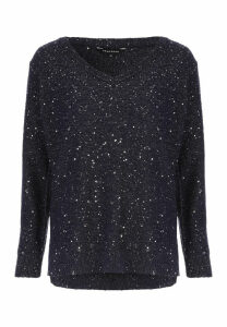 Womens Navy Sequin Jumper