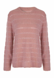 Womens Pink Sequin Stripe Jumper