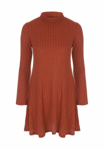 Womens Rust Ribbed Turtle Neck Dress