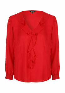 Womens Red Ruffle Blouse